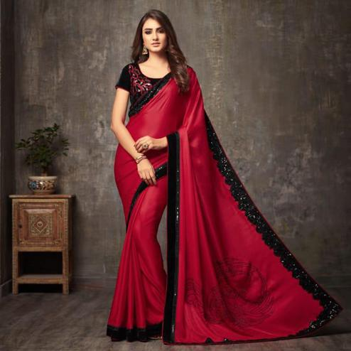Adorable Red Colored Party Wear Embroidered Silk Saree