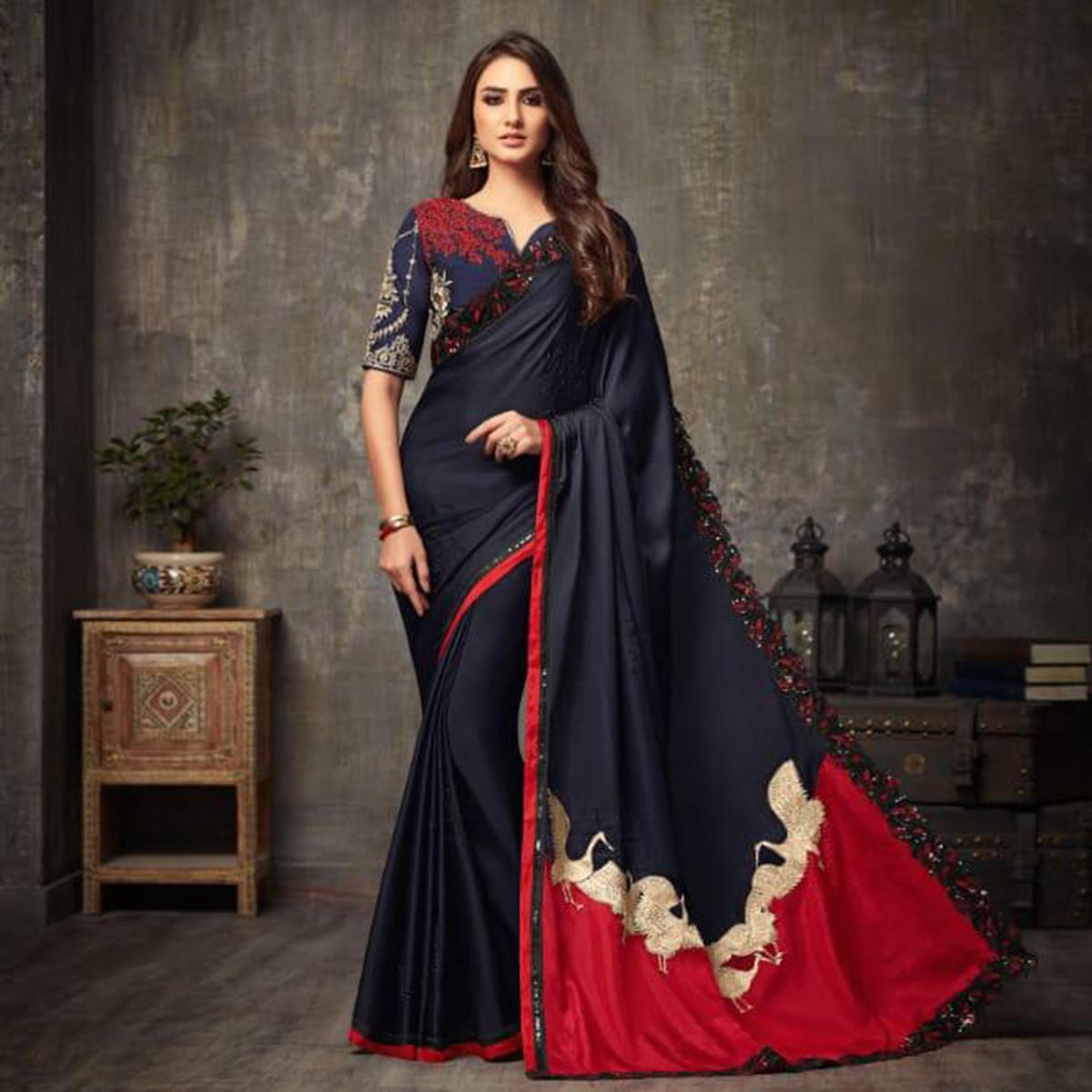 Attractive Navy Blue Colored Party Wear Embroidered Silk Saree