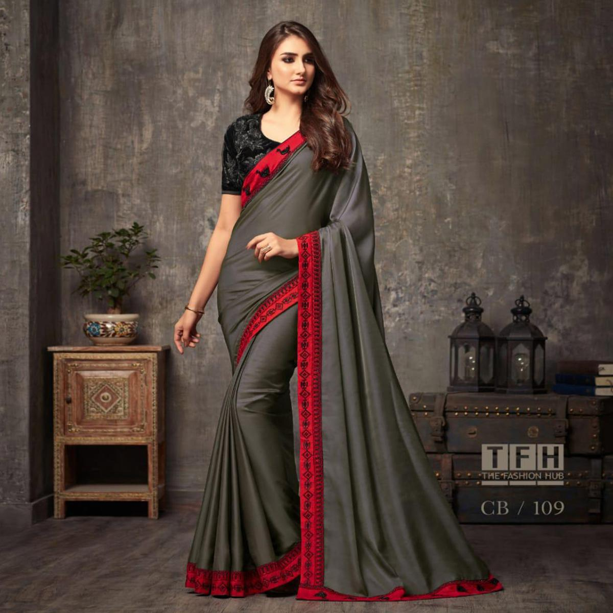 Beautiful Grey Colored Party Wear Embroidered Silk Saree