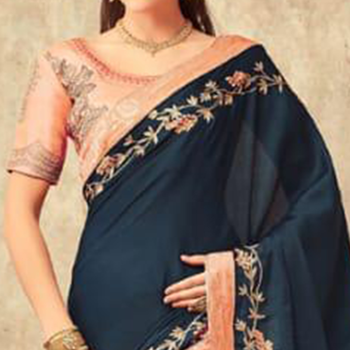 Gorgeous Teal Blue Colored Party Wear Embroidered Silk Saree