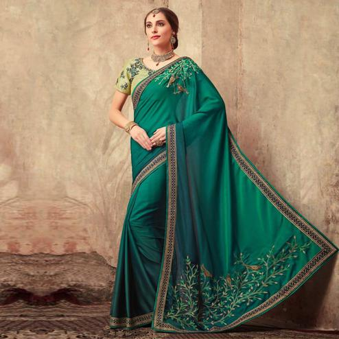Glorious Teal Green Colored Party Wear Embroidered Silk Saree