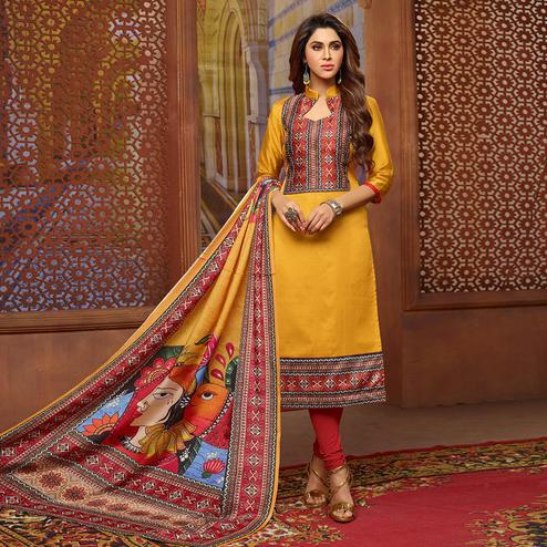 Exotic Mustard Yellow Colored Casual Printed Zoya Silk Suit