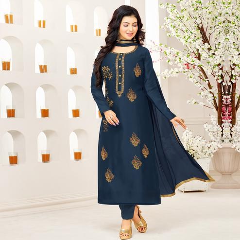 Preferable Navy Blue Colored Party Wear Embroidered Cotton Suit
