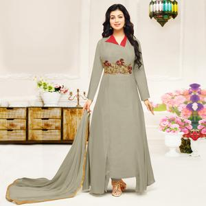 Groovy Grey Colored Party Wear Embroidered Cotton Suit