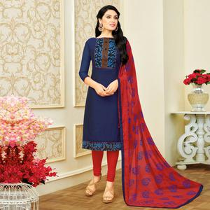 Gorgeous Navy Blue Colored Casual Printed chanderi Silk Suit