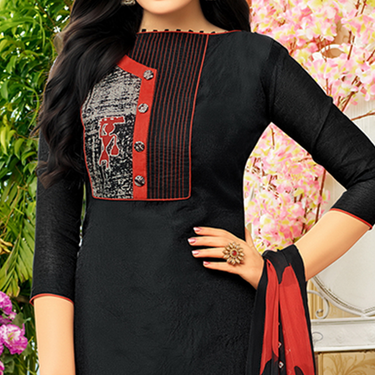 Majesty Black Colored Casual Printed chanderi Silk Suit