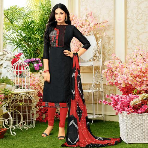 Majesty Black Colored Casual Printed chanderi Suit