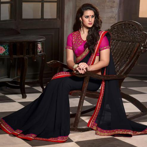 Graceful Black Colored Party Wear Embroidered Georgette Saree