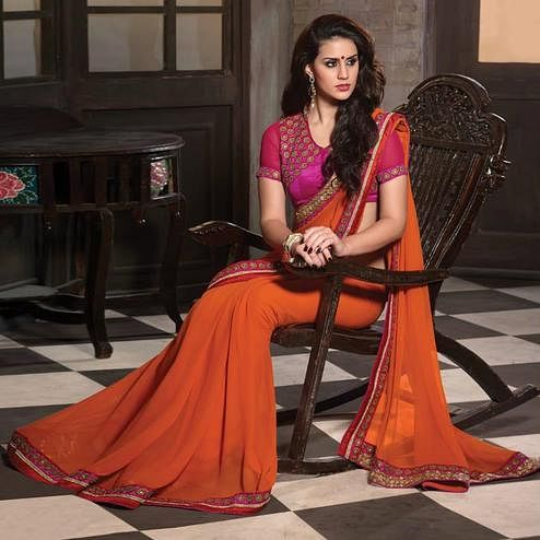 Lovely Orange Colored Party Wear Embroidered Georgette Saree