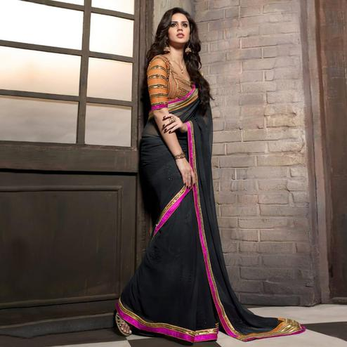 Ravishing Blackish Grey Colored Party Wear Embroidered Georgette Saree