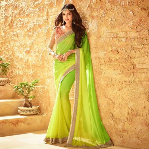 Stunning Light Green Colored Party Wear Embroidered Georgette Saree