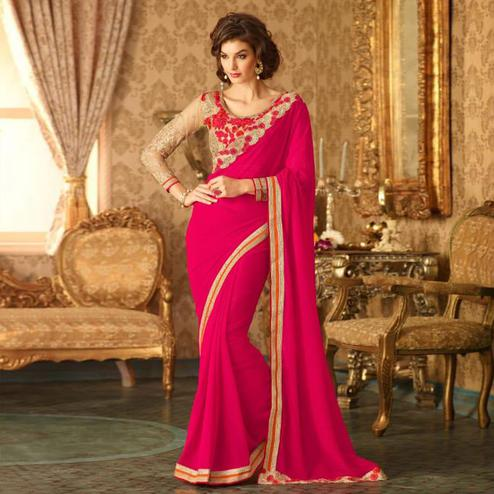 Blooming Deep Pink Colored Party Wear Embroidered Georgette Saree