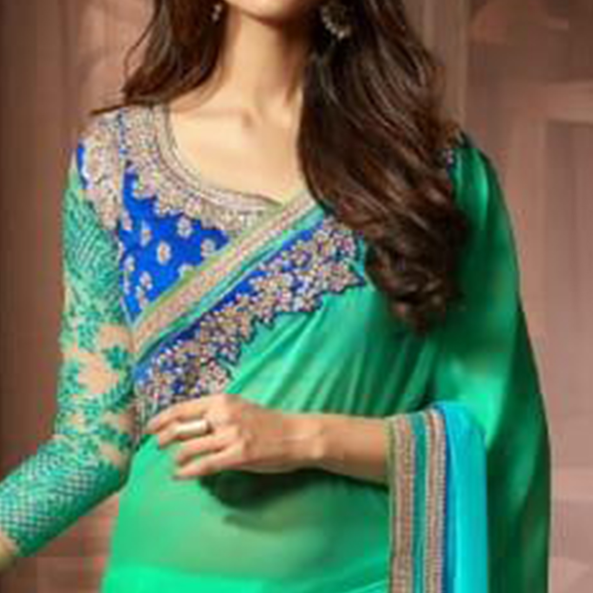 Marvellous Shaded Green Colored Party Wear Embroidered Georgette Saree