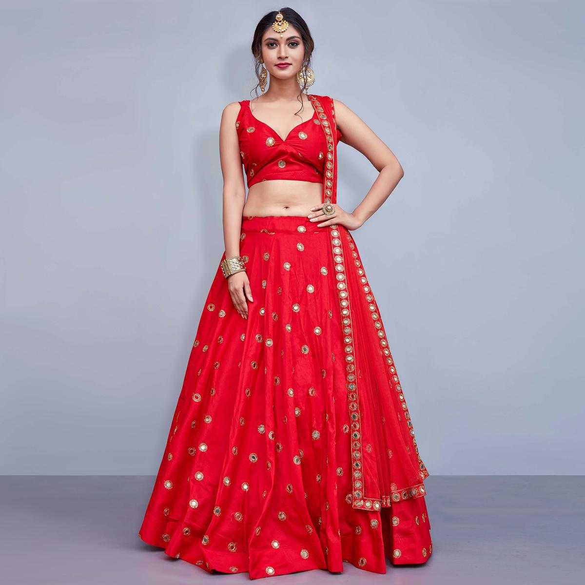 Opulent Red Colored Party Wear Fancy Art Silk Lehenga