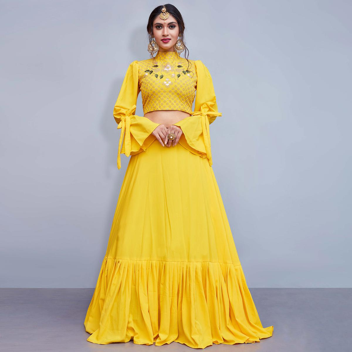 Dazzling Yellow Colored Party Wear Fancy Crape Silk Lehenga