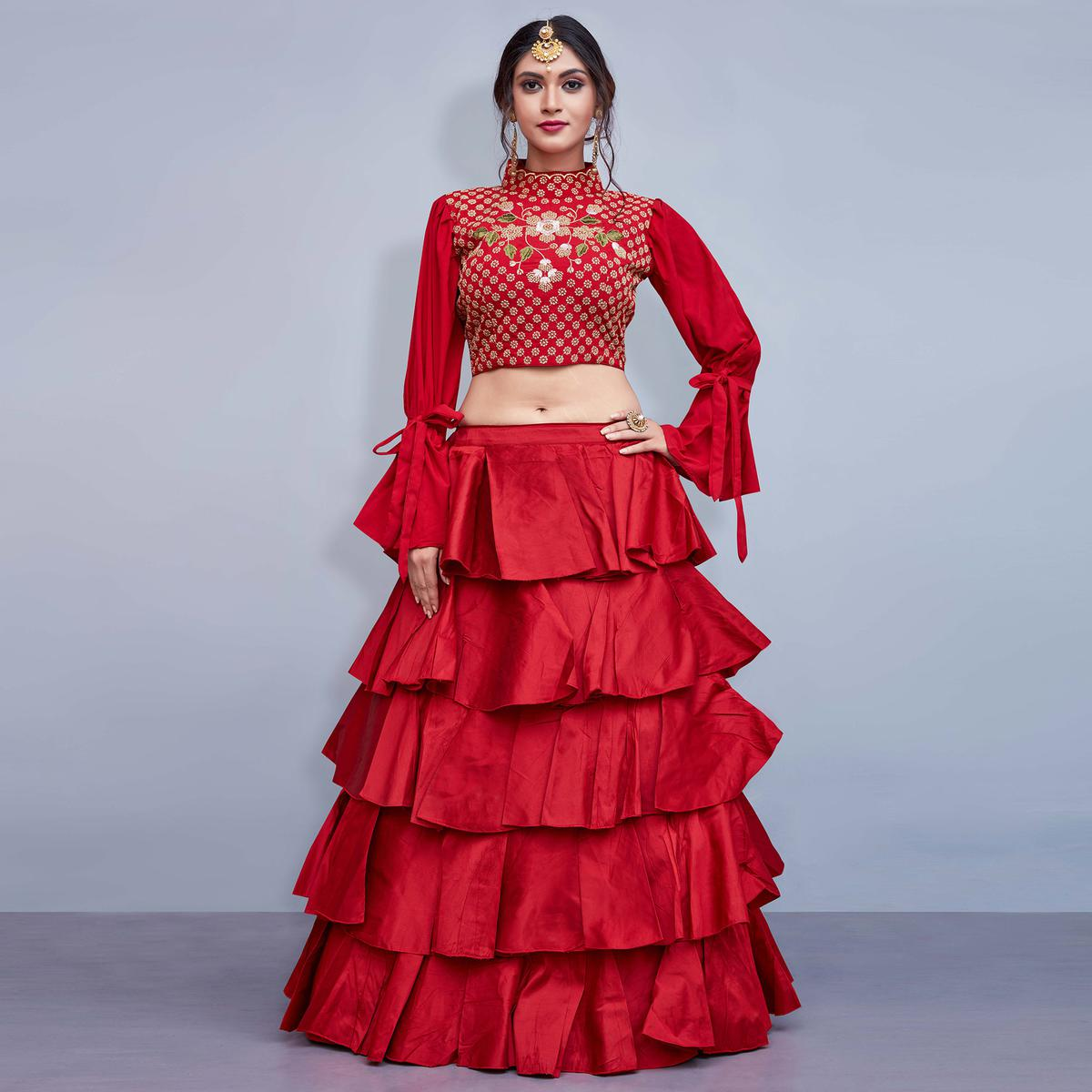 Desirable Red Colored Party Wear Fancy Art Silk Lehenga