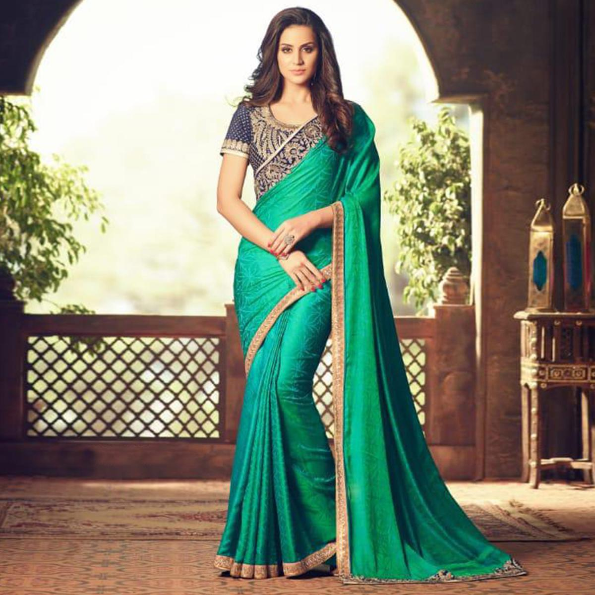 Mesmerising Ocean Green Colored Party Wear Embroidered Silk Saree