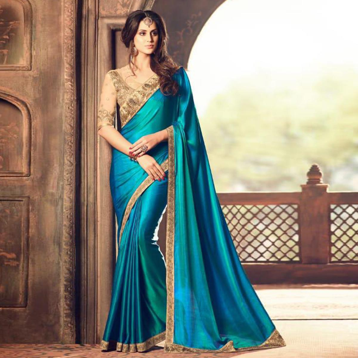 Ravishing Shaded Blue Colored Party Wear Embroidered Silk Saree
