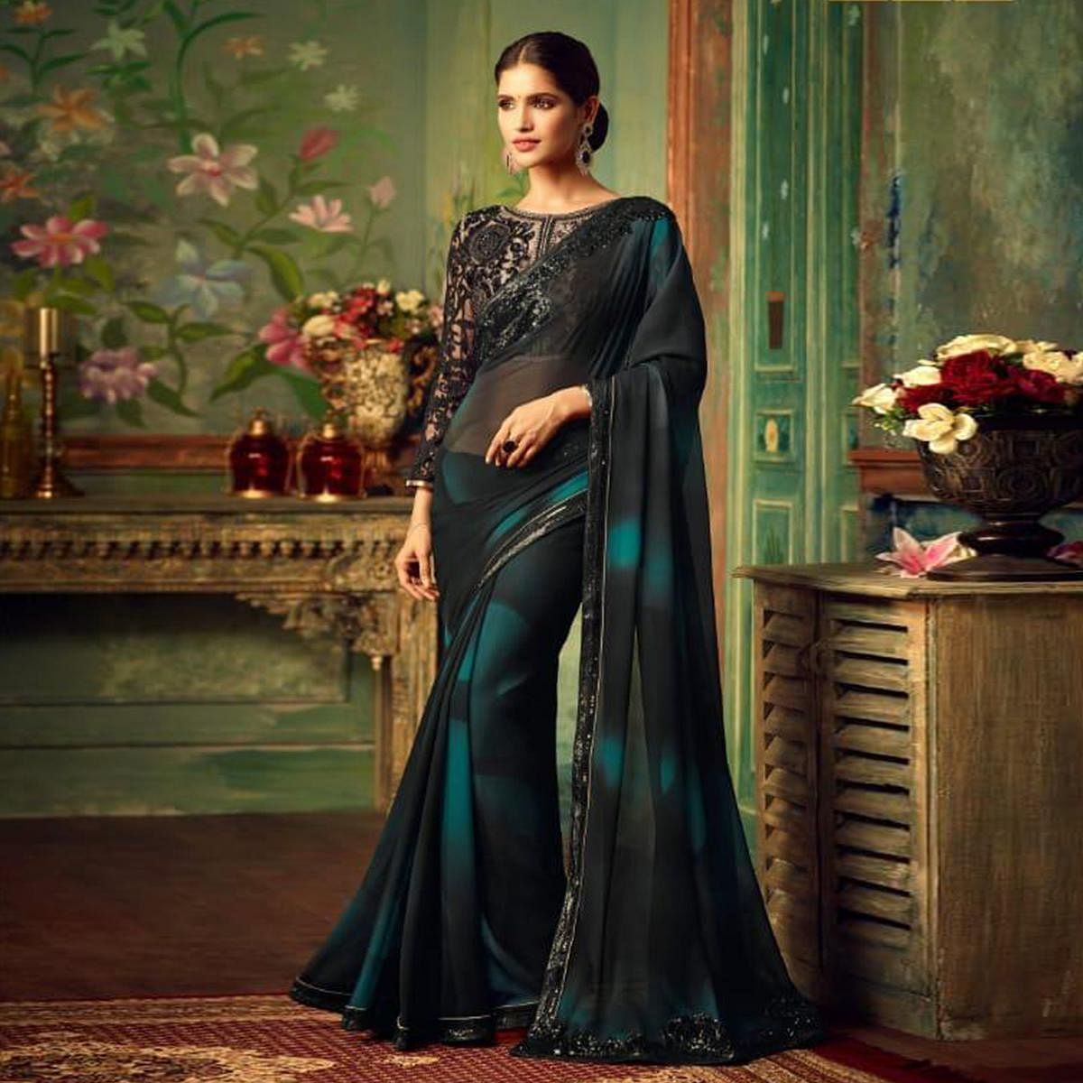Eye-catching Black Colored Party Wear Embroidered Georgette Saree