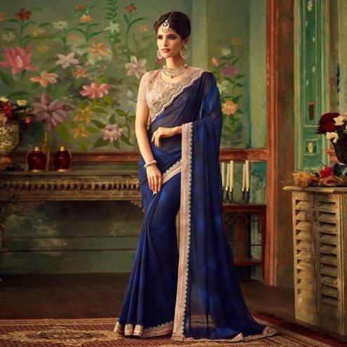 Amazing Blue Colored Party Wear Embroidered Georgette Saree