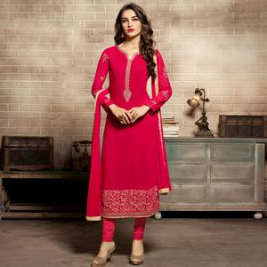 Hypnotic Pink Colored Partywear Embroidered Georgette Suit
