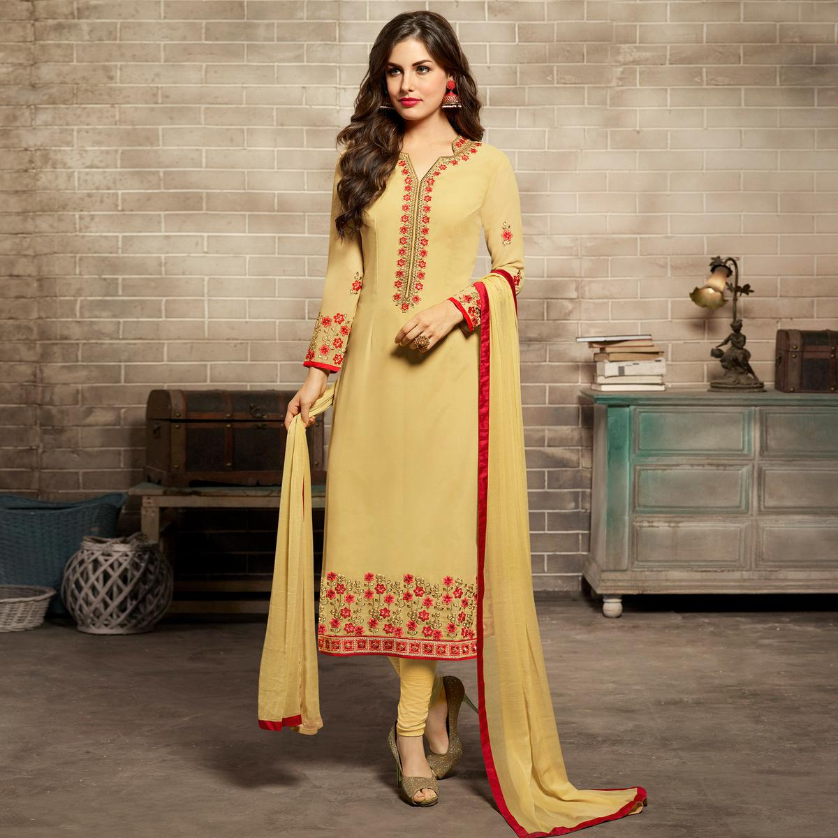 Pleasant Light Yellow Colored Partywear Embroidered Georgette Suit