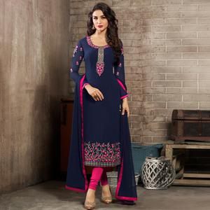 Appealing Navy Blue Colored Partywear Embroidered Georgette Suit