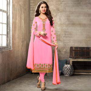 Impressive Pink Colored Partywear Embroidered Georgette Suit