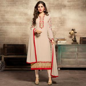 Attractive Off-White Colored Partywear Embroidered Georgette Suit