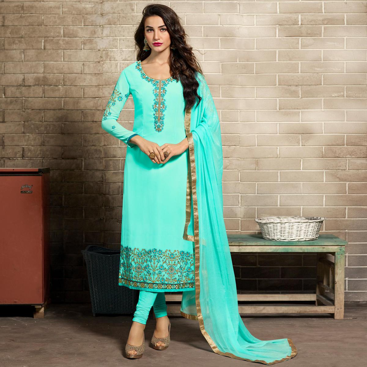 Refreshing Aqua Blue Colored Partywear Embroidered Georgette Suit
