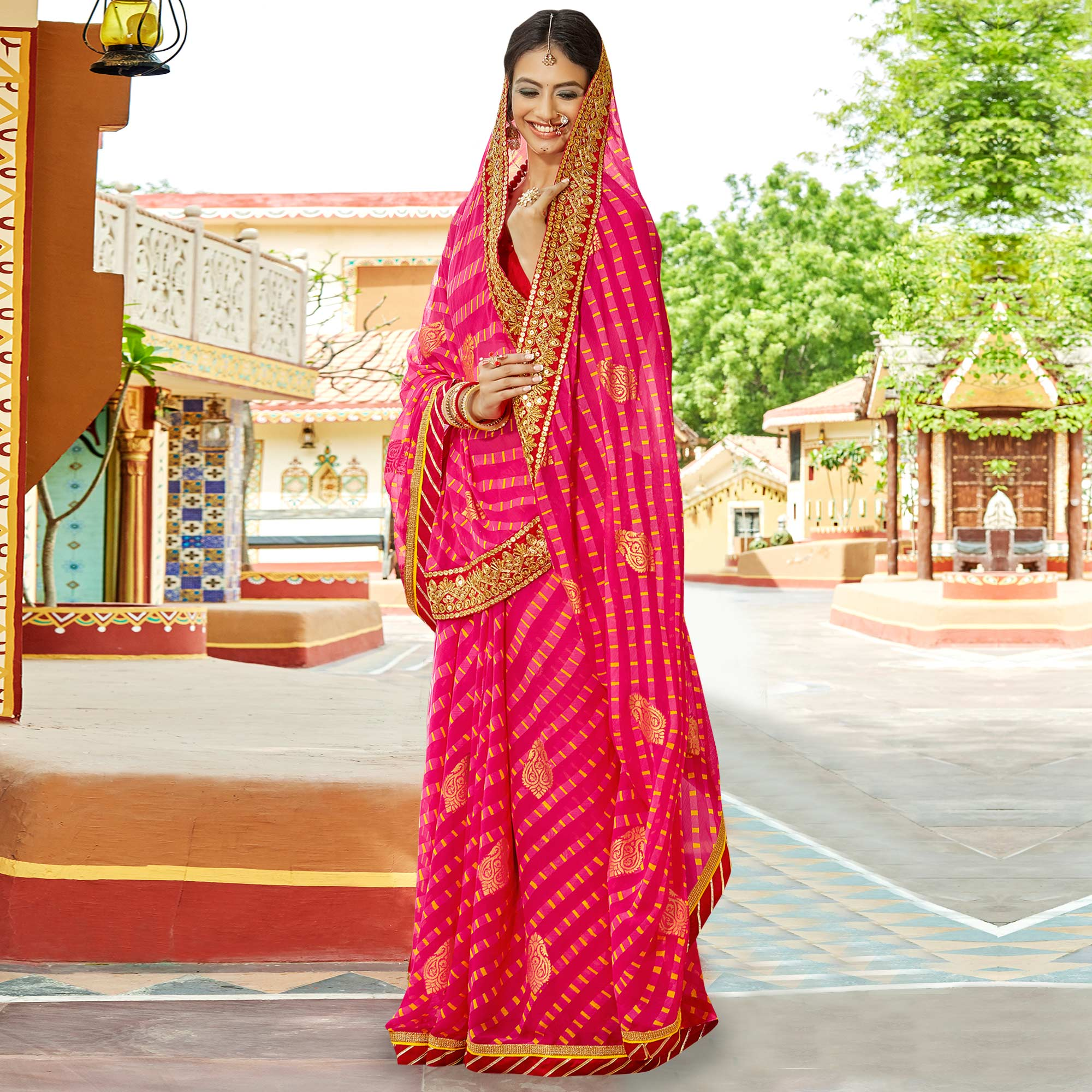 Entrancing Dark Pink Colored Party Wear Embroidered Chiffon Saree