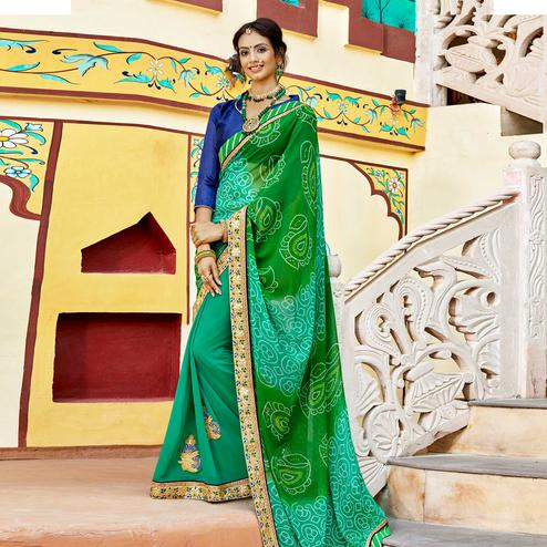 Imposing Green Colored Party Wear Embroidered Georgette Saree