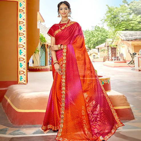 Blissful Orange & Red Colored Party Wear Embroidered Georgette Saree