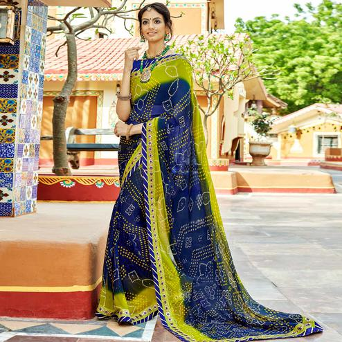 Fantastic Navy Blue & Green Colored Party Wear Embroidered Georgette Saree