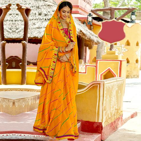 Staring Mustard Yellow Colored Party Wear Embroidered Georgette Saree