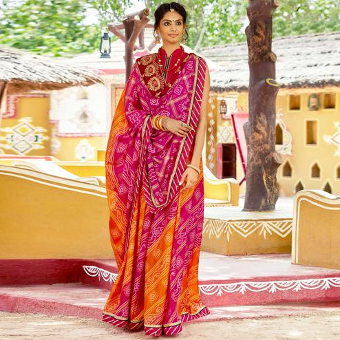 Pleasance Dark Pink & Orange Colored Party Wear Embroidered Chiffon Saree