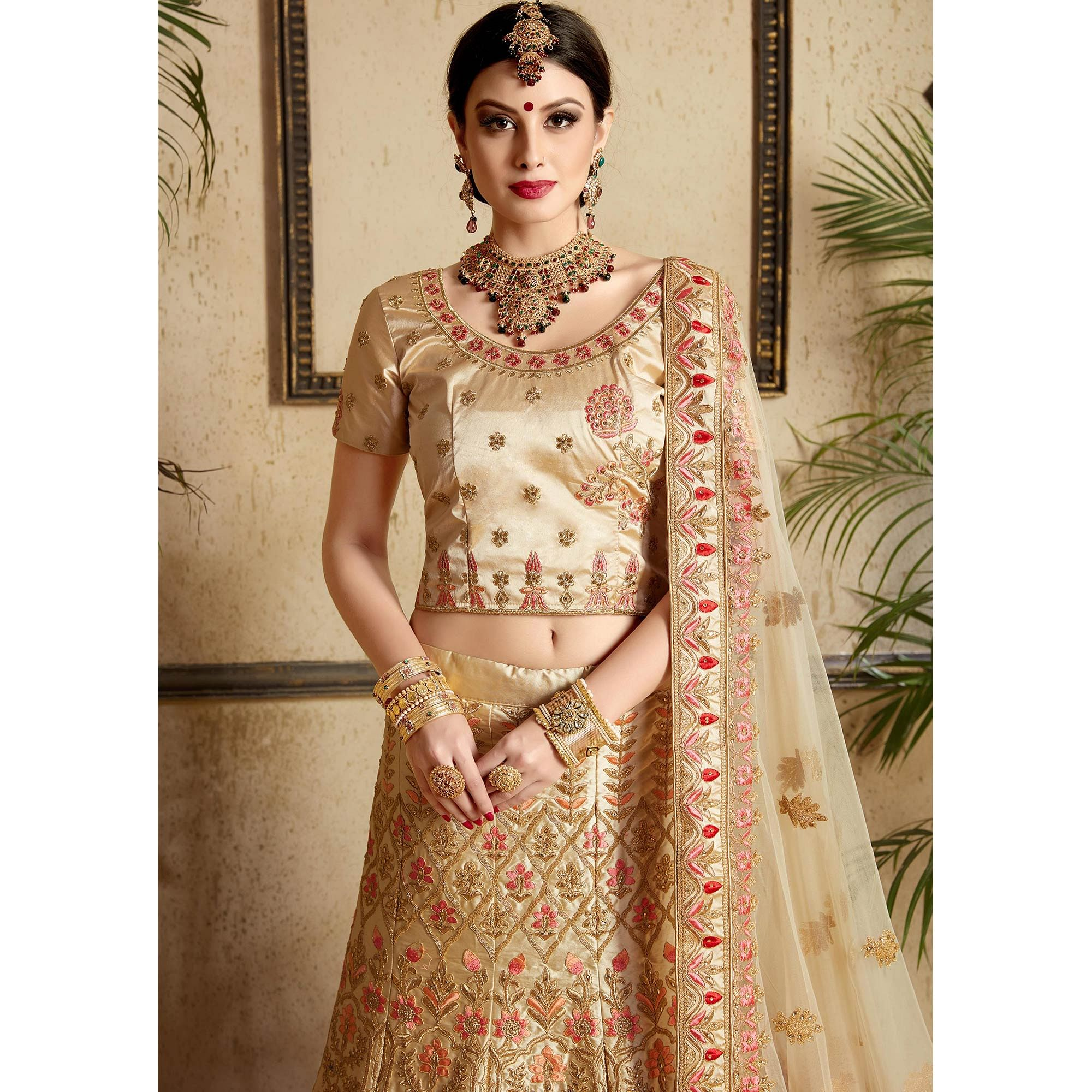 Captivating Beige Colored Wedding Wear Embroidered Satin Lehenga Choli