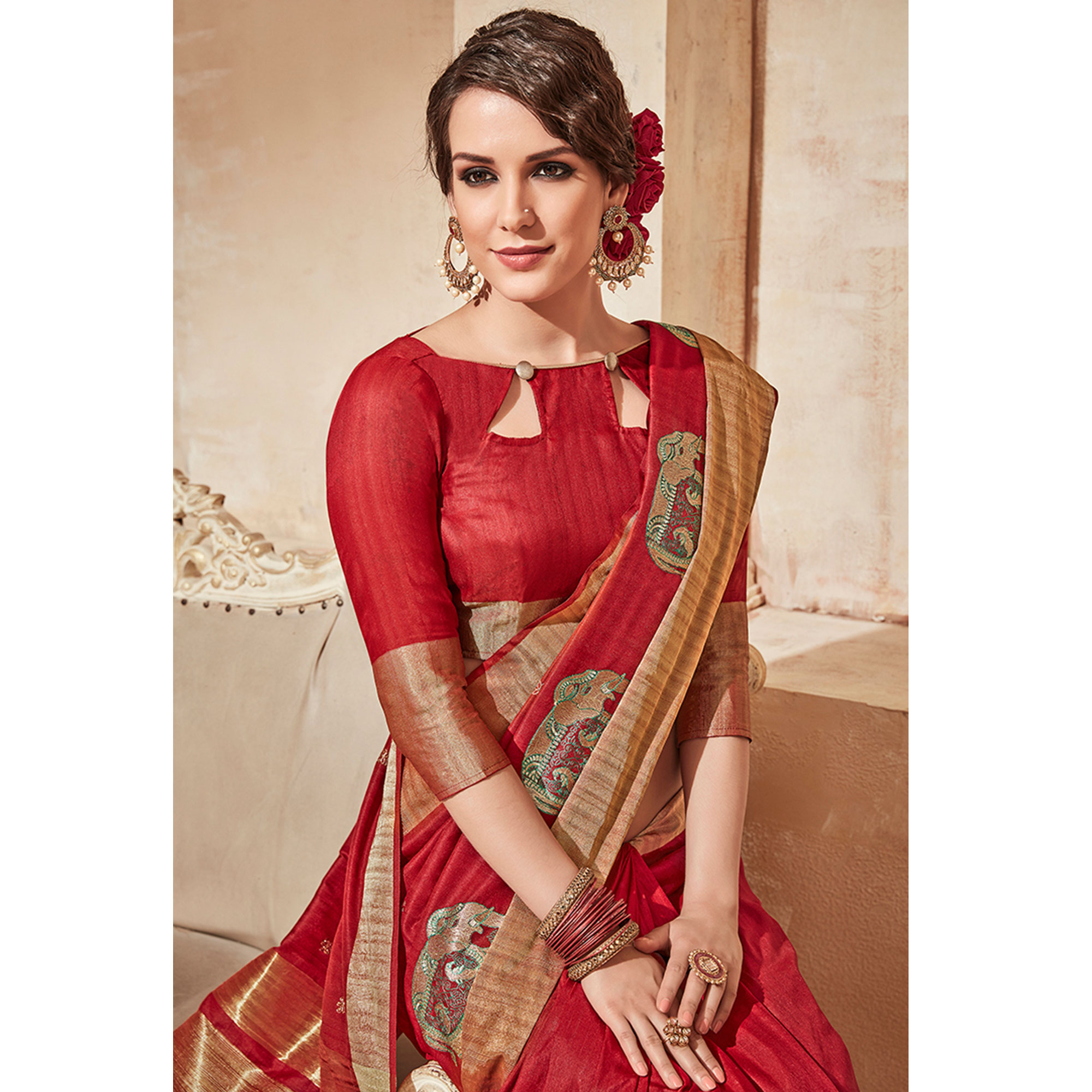 Jazzy Red Colored Festive Wear Thread Work Cotton Silk Saree