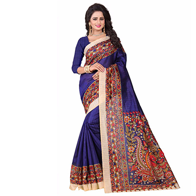 Purple Casual Printed Bhagalpuri Silk Saree