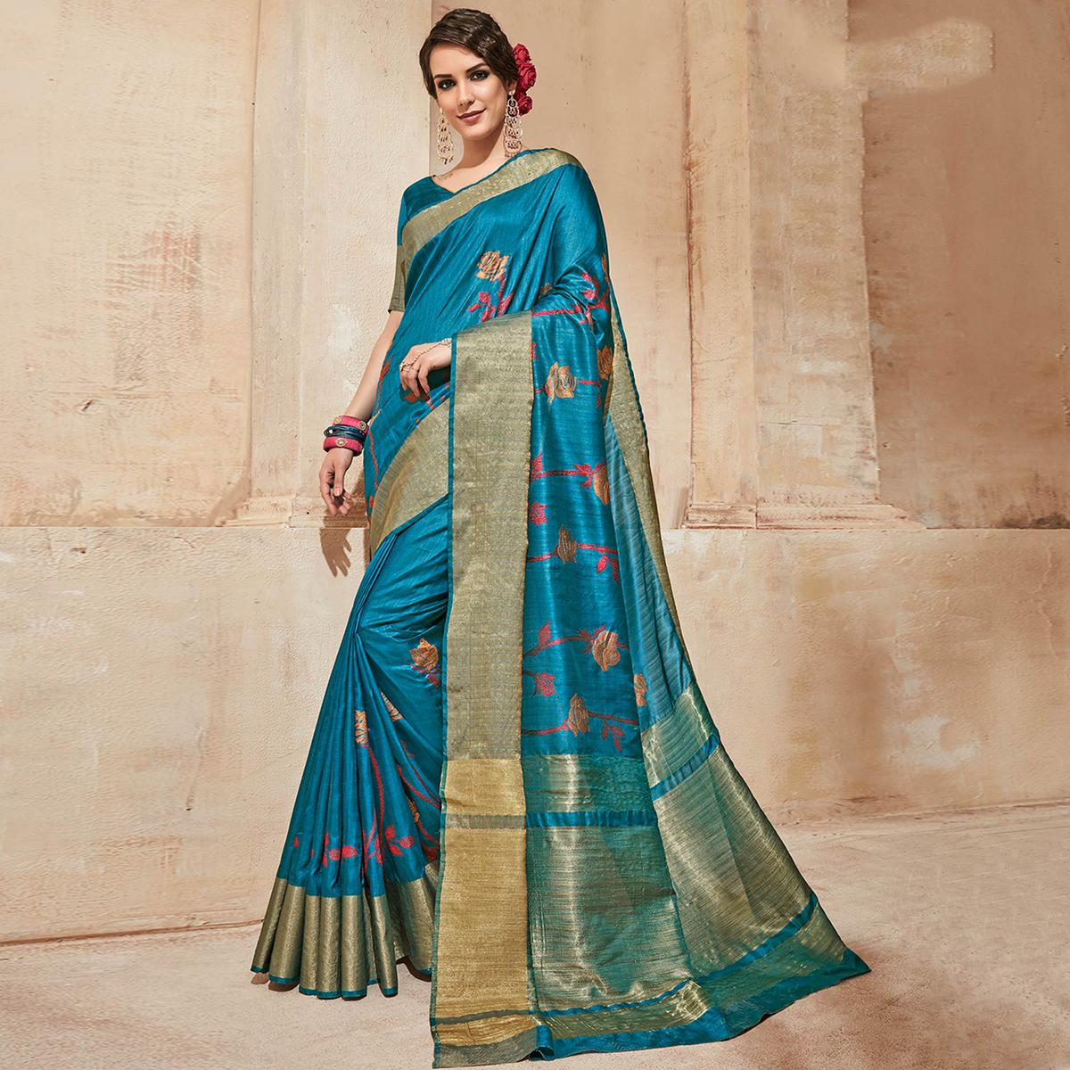 Desirable Blue Colored Festive Wear Thread Work Cotton Silk Saree