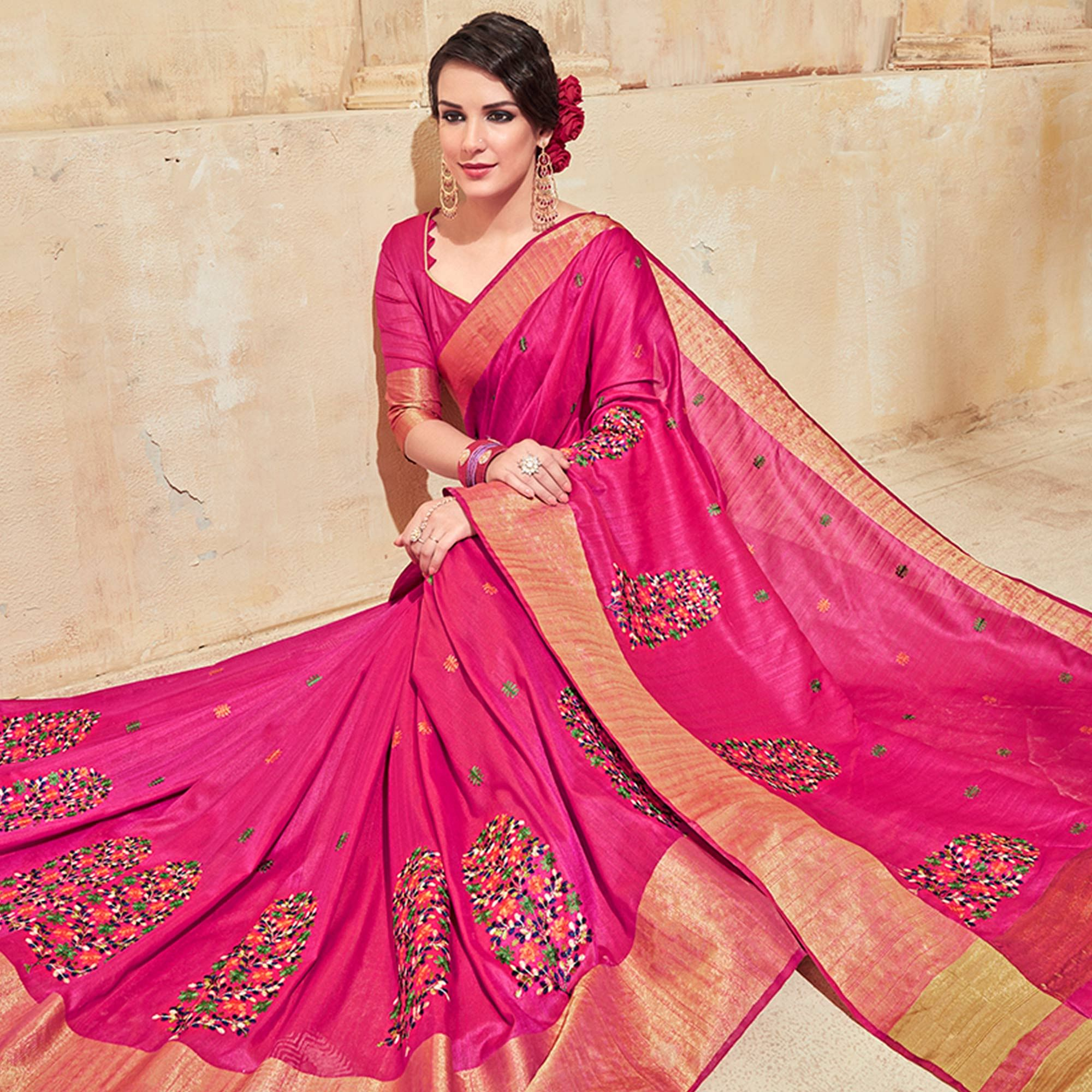 Sophisticated Fuschia Pink Colored Festive Wear Thread Work Cotton Silk Saree