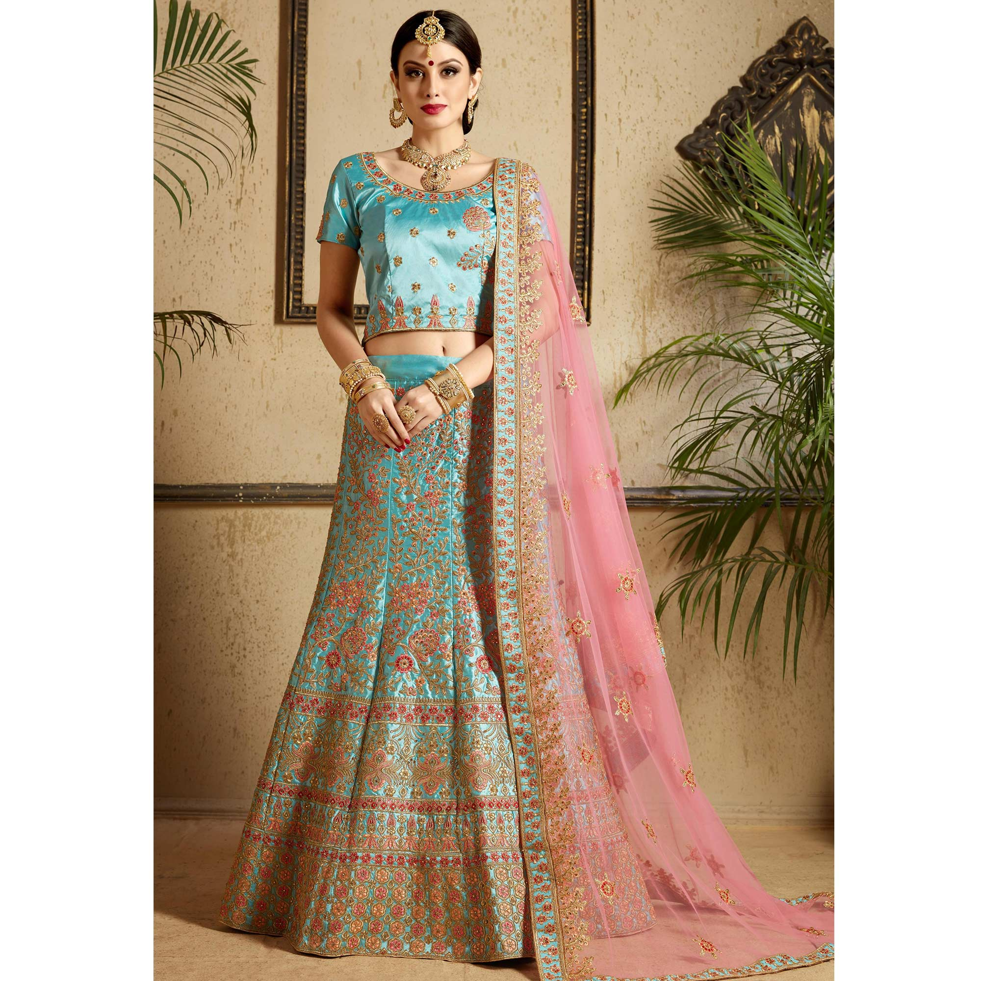 Flirty Sky Blue Colored Wedding Wear Embroidered Satin Lehenga Choli