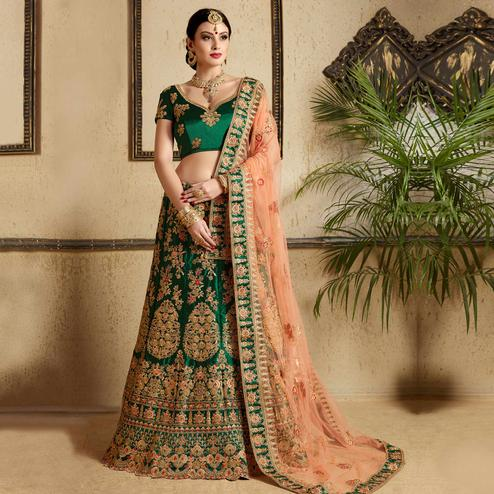 Hypnotic Pine Green Colored Wedding Wear Embroidered Satin Lehenga Choli