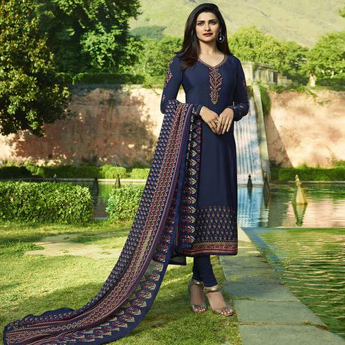 Amazing Navy Blue Colored Partywear Embroidered Crepe Suit
