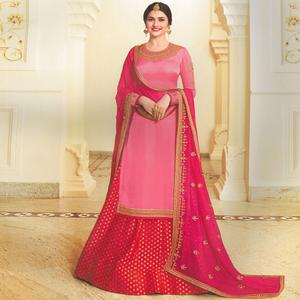 Marvellous Pink Colored Party Wear Embroidered Georgette Satin Lehenga Kameez