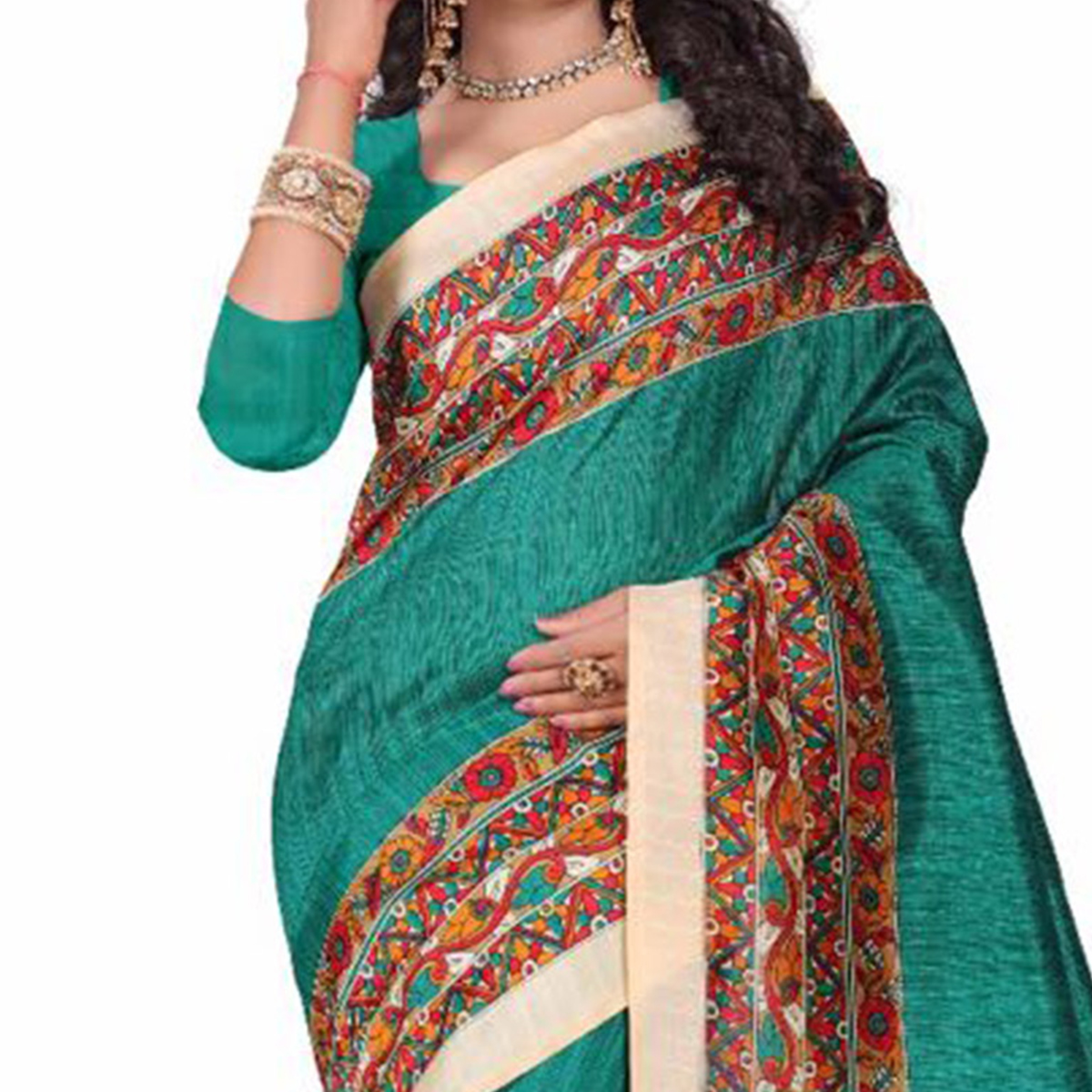 Green Casual Printed Bhagalpuri Silk Saree
