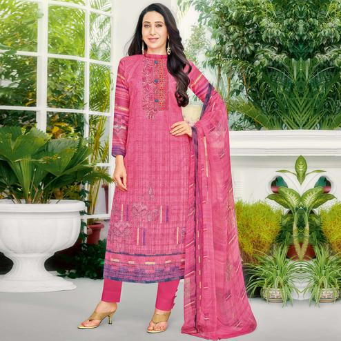 Intricate Magenta Pink Colored Party Wear Printed Cotton Dress Material