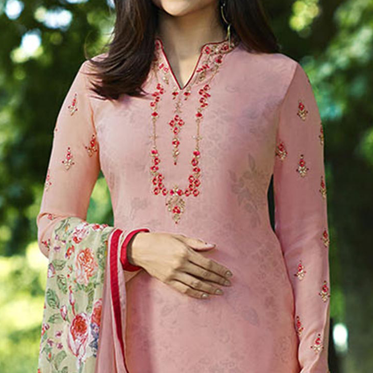 Hypnotic Pink Colored Partywear Embroidered Crepe Suit