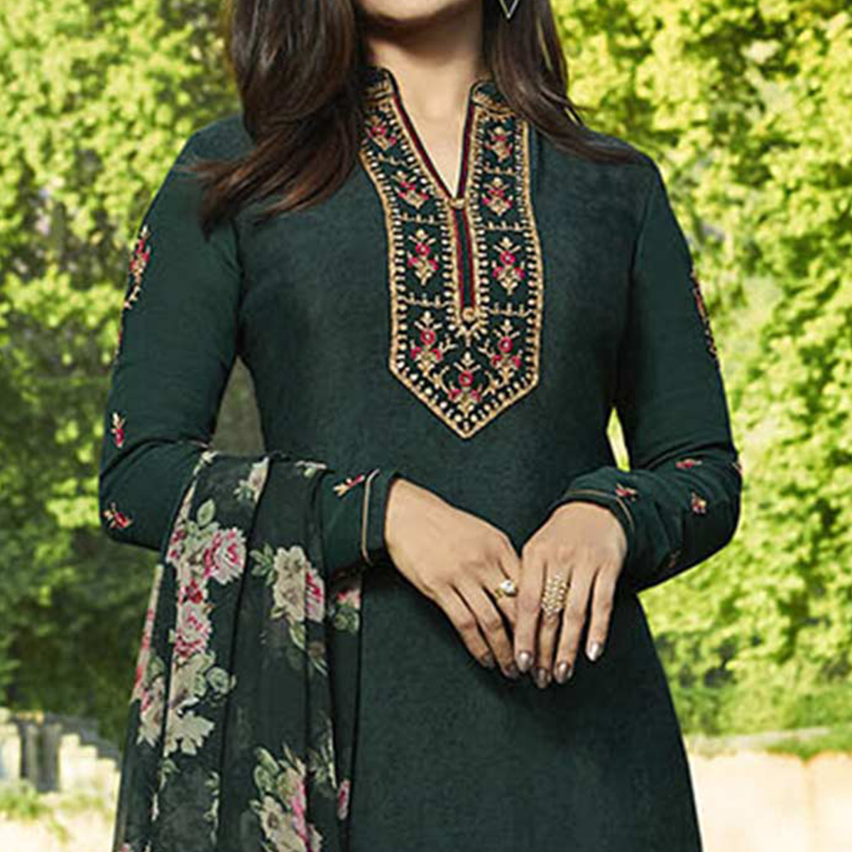 Exceptional Dark Green Colored Partywear Embroidered Crepe Suit