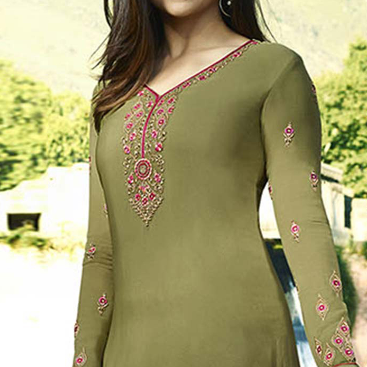 Different Olive Green Colored Partywear Embroidered Crepe Suit